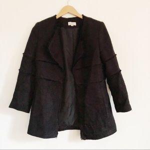LOFT draped fringe open tweed black coat